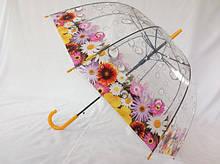 Зонтик колокол прозрачный с цветами трость на 8 спиц