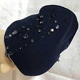 Женская шапочка украшенная крупными камням спереди и мелкими сзади, фото 8