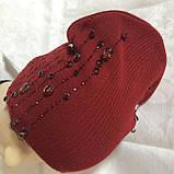 Женская шапочка украшенная крупными камням спереди и мелкими сзади, фото 9