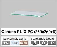 Стеклянная полка прямоугольная Commus PL3 PC (250х360х8мм), фото 1
