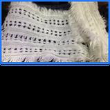 Трикотажный  ажурный шарф кружевной вязки цвет белый и бежевый, фото 2