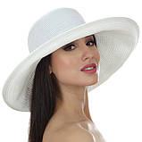Молочная шляпа с бежевой лентой и бантом, фото 3