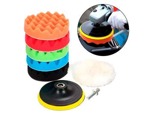 Набор из 6 насадок на дрель 12.5см для полировки авто + шлифовальный диск