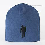 Демисезонные шапочки  унисекс цвет пудра джинс черный, фото 3
