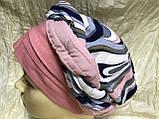 Летняя  бандана-шапка-косынка-тюрбан в розовых оттенках с объёмной жгутом, фото 3