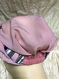 Летняя  бандана-шапка-косынка-тюрбан в розовых оттенках с объёмной жгутом, фото 7