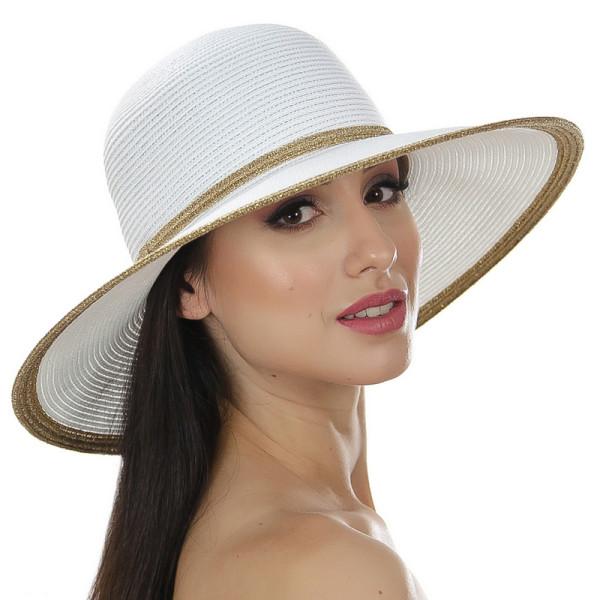 Белая летняя шляпа с золотистой окантовкой