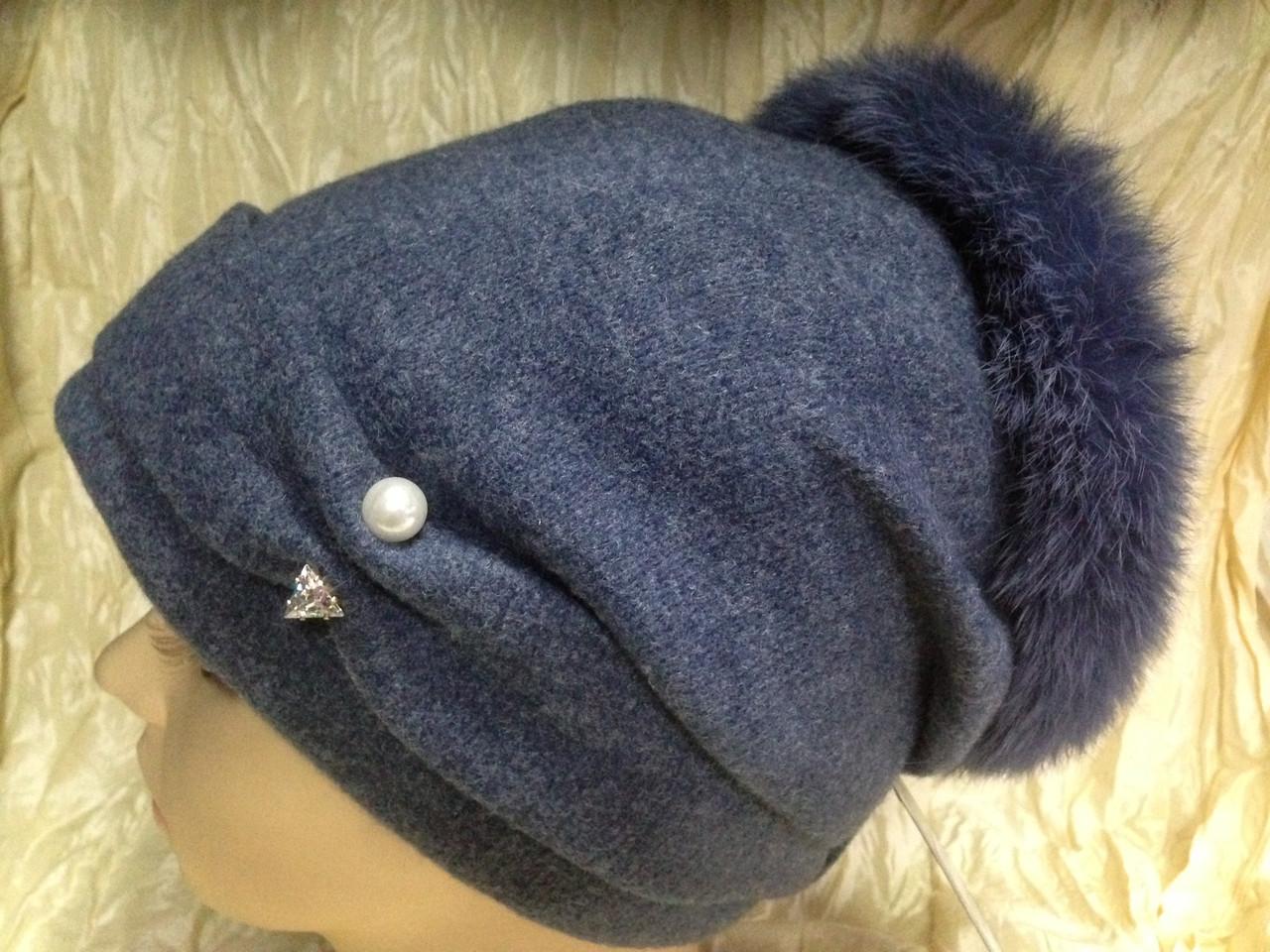 Женская шапочка с мехом кролика по кольцу из валяной шерсти