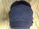 Женская шапочка с мехом кролика по кольцу из валяной шерсти, фото 3