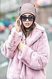 Розовая шапочка бини с сеточкой и россыпью камней, фото 2