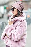Розовая шапочка бини с сеточкой и россыпью камней, фото 3