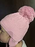 Детская шапочка с рисунком бубоном ушками цвет розовый, фото 3