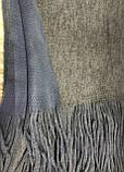 Объёмный двухсторонний очень тёплый шарф серо-голубой с серым, фото 2