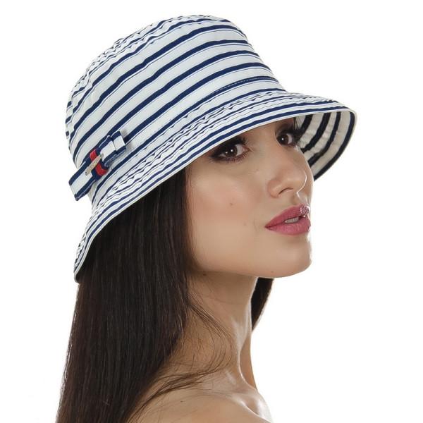 Женская шляпа с моделируемыми полями в полоску цвет белый с синим