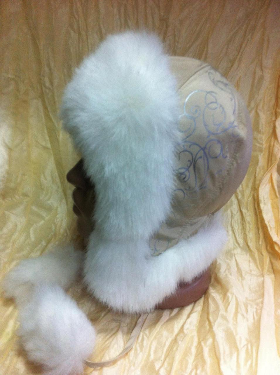 Модна шапка - вушанка для дівчаток колір бежевий з білим хутром