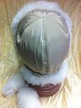 Модна шапка - вушанка для дівчаток колір бежевий з білим хутром, фото 2