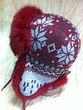 Красивая вязанная  ушанка  с орнаментом с мехом кролика, фото 3