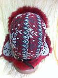 Красивая вязанная  ушанка  с орнаментом с мехом кролика, фото 4
