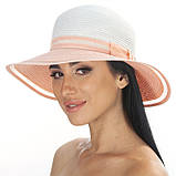 Річна капелюх прикрашена стрічкою колір білий+ чорний, фото 2