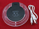 Qi передатчик прозрачный LED беспроводная зарядка телефона Fantasy, черная, фото 2