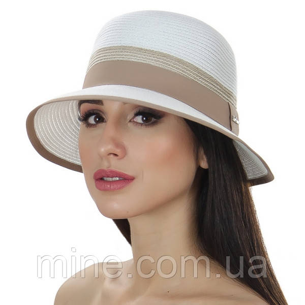 Женская летняя шляпа цвет белый с бежевым отделкой