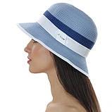 Женская летняя шляпа цвет белый с бежевым отделкой, фото 3