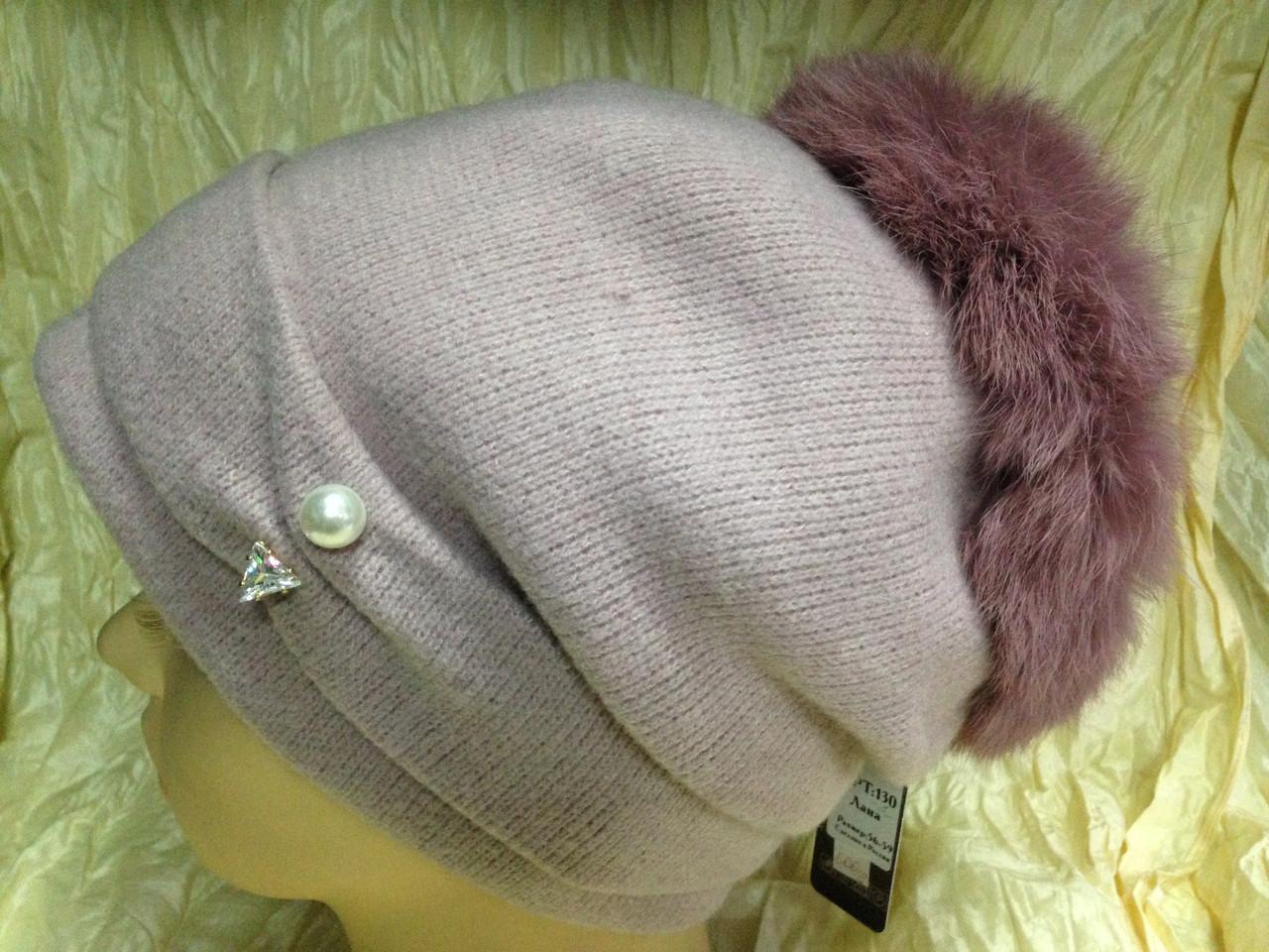 Женская шапочка с мехом кролика по кольцу цвет пудра
