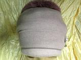 Женская шапочка с мехом кролика по кольцу цвет пудра, фото 3