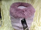 Женская шапочка с мехом кролика по кольцу цвет пудра, фото 4