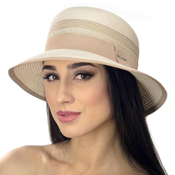 Бежевая летняя женская шляпа ширина поля 6 см