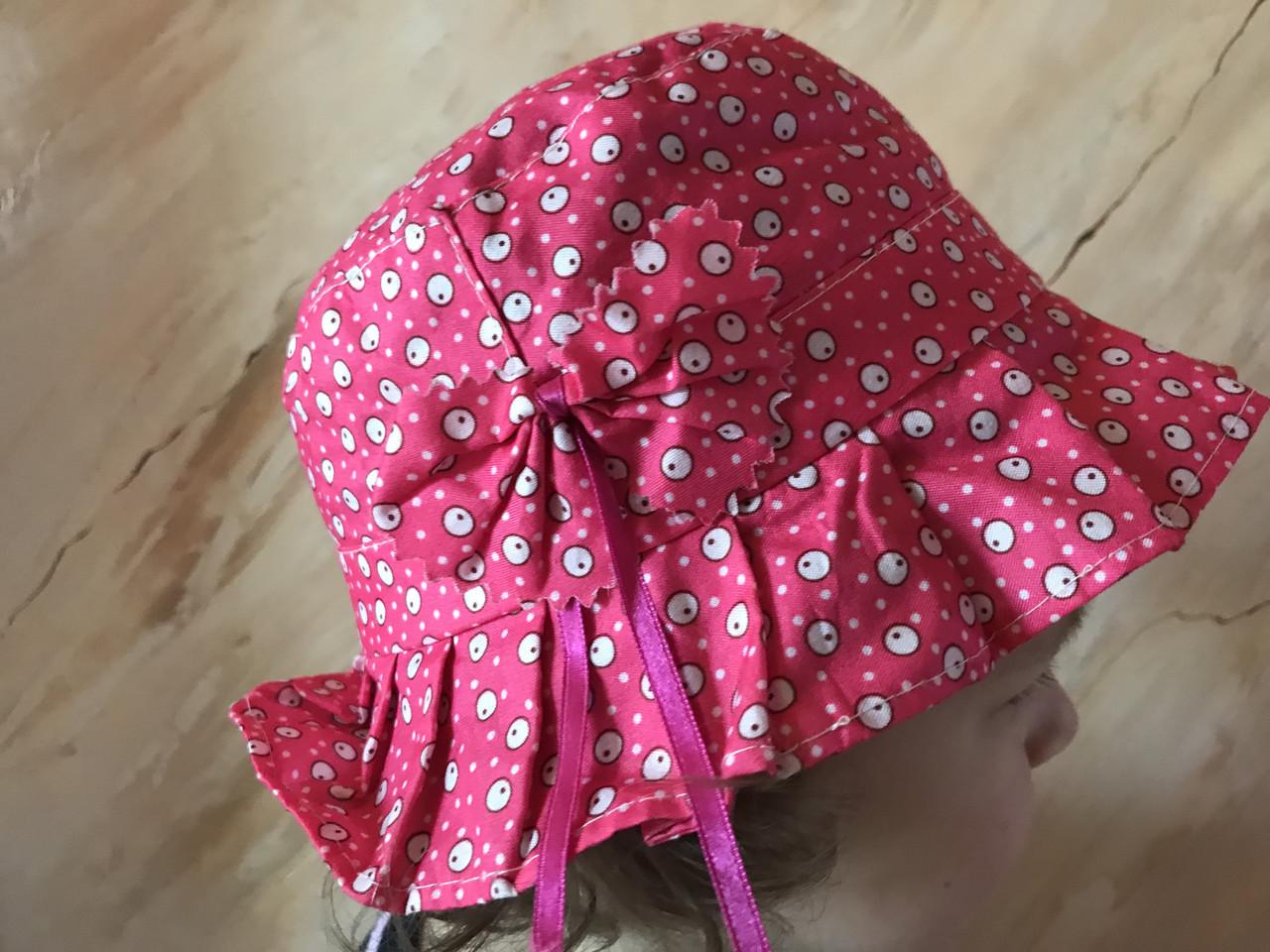 Летняя  панамка для девочки 1-4 года малиновая из хлопка