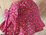Летняя  панамка для девочки 1-4 года малиновая из хлопка, фото 2