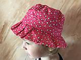 Летняя  панамка для девочки 1-4 года малиновая из хлопка, фото 4