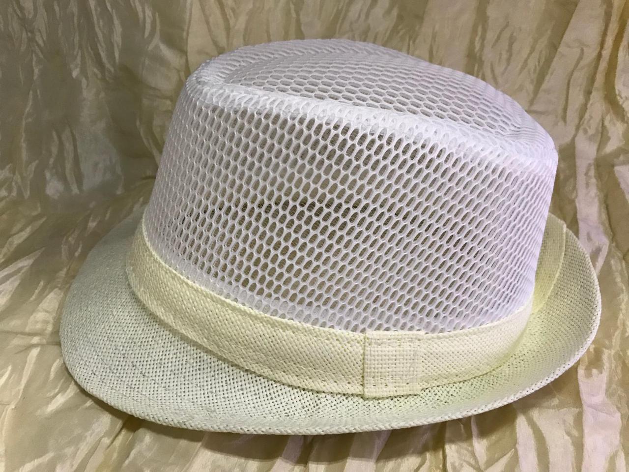 Летняя шляпа Федора тулья сетка размер 58 цвет белый с молочными полями