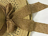 Летняя коричневая шляпка из соломки украшена лентой с бантом, фото 2