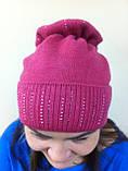 Бордовая шапка из мягкой валяной шерсти с широким отворотом и оригинальным бубоном, фото 2