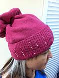 Бордовая шапка из мягкой валяной шерсти с широким отворотом и оригинальным бубоном, фото 4