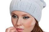 Бордовая шапка из мягкой валяной шерсти с широким отворотом и оригинальным бубоном, фото 5