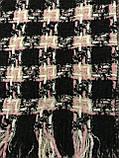 Текстильный шерстяной розовый с чёрным  шарф в клетку, фото 3