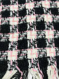 Текстильный шерстяной розовый с чёрным  шарф в клетку, фото 4
