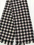 Текстильный шерстяной розовый с чёрным  шарф в клетку, фото 5