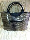 Женская коричнево оливковая сумка  под кожу крокодила, фото 2