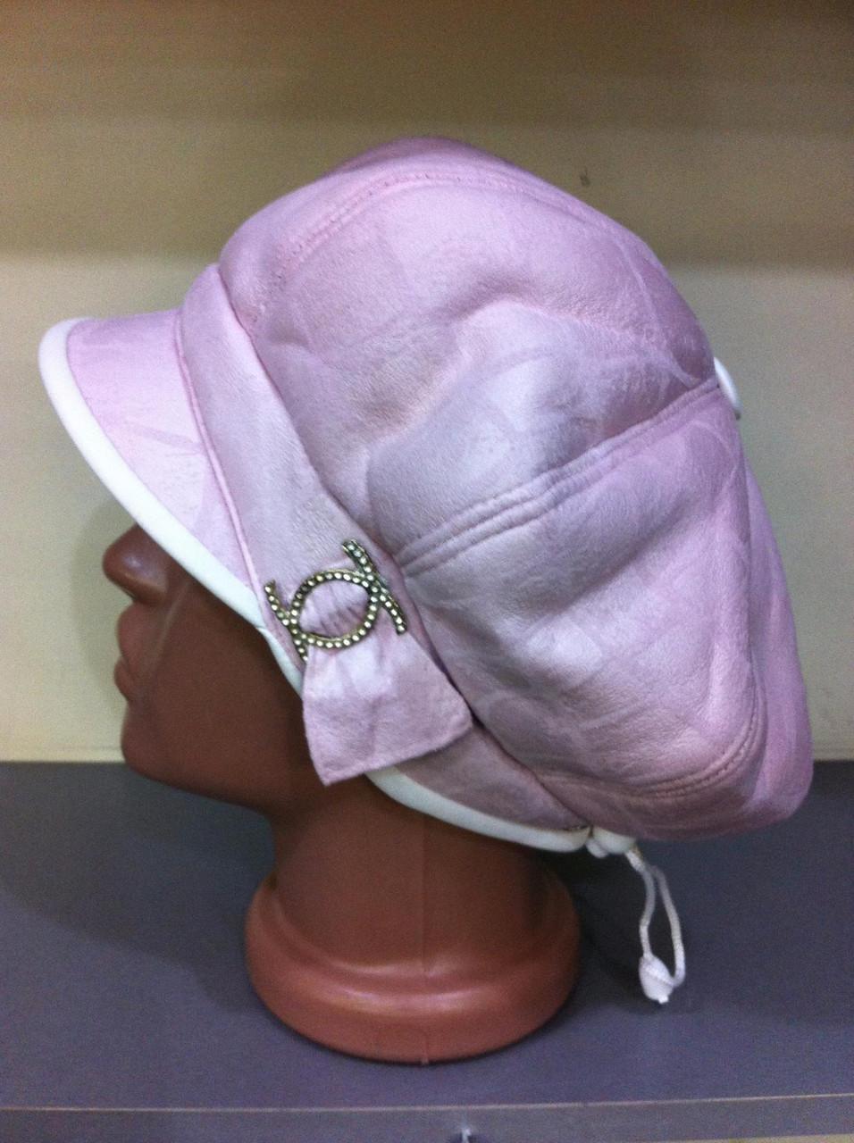 Женская зимняя кепка из искусственного дубляжа цвет розовый