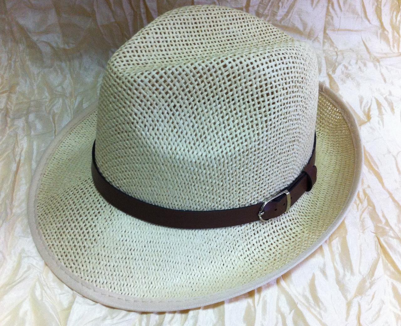 Шляпа летняя мужская молочная с завернутыми сзади полями