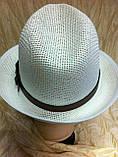 Шляпа летняя мужская молочная с завернутыми сзади полями, фото 6