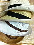 Шляпа летняя мужская молочная с завернутыми сзади полями, фото 7