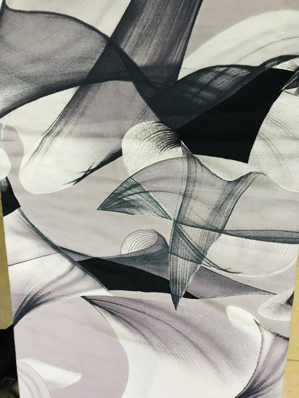 Кашемировый палантин с  легким абстрактным рисунком серый