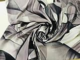 Кашемировый палантин с  легким абстрактным рисунком серый, фото 2