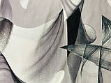 Кашемировый палантин с  легким абстрактным рисунком серый, фото 3