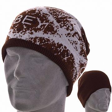 Мужская шапка двухсторонняя  цвет коричневый
